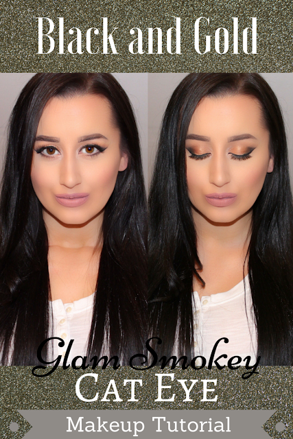 Black and Gold Glam Smokey Cat Eye Makeup Tutorial