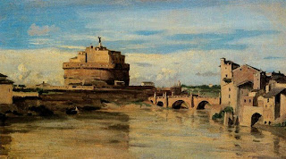 El castillo de San Angelo y el Tíber (Roma) - Jean Baptiste-Camille Corot