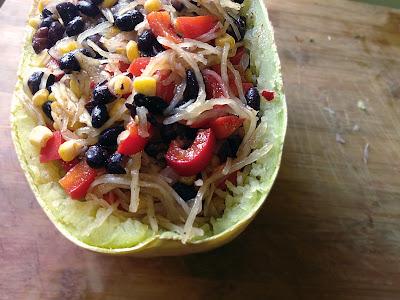 spicy black bean spaghetti squash (vegan, gluten free, refined sugar free, soy free, nut free)