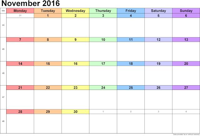 Printable Calendar Cute, November 2016 Calendar with Holidays Free ...
