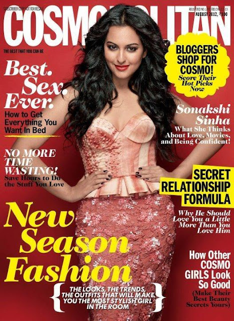 sonakshi sinha on the cover of cosmopolitan magazine - august 2012