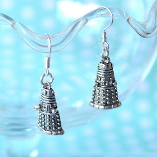 handmade the polkadotte polkadot dr who dalek doctor who bbc jewellery earrings studs drop dangle