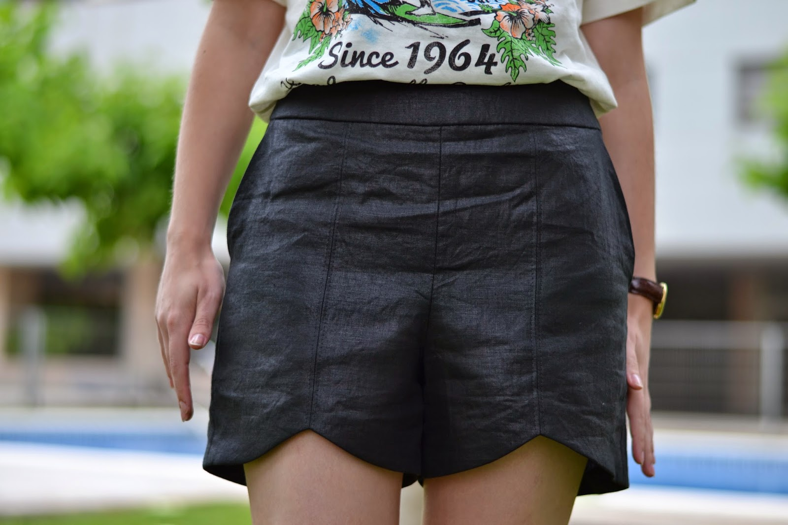 Scalloped Hem shorts by pattern runway in linen