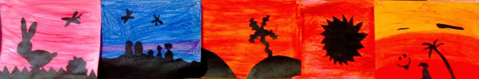 Fourth Grade Warm Cool Colors Silhouette Art Lesson