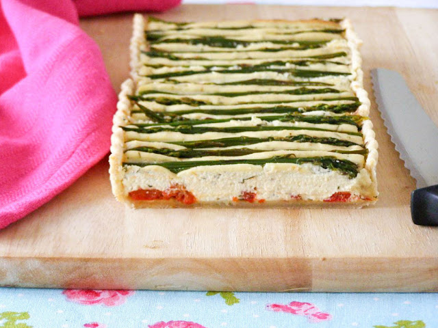 Roasted Red Pepper and Asparagus Almond Feta Flan