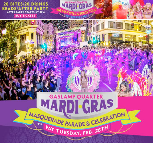 Save On Passes To Mardi Gras in the Gaslamp - February 28!