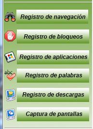 Botones de acceso al registro de actividades