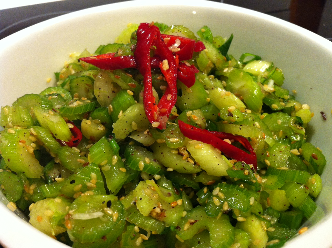 Live, Love & Learn: Pickled Celery, Spring Onion & Chilli Salad