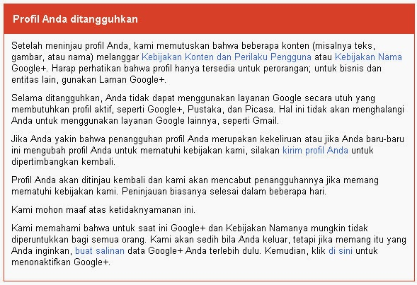 suspend profile google+
