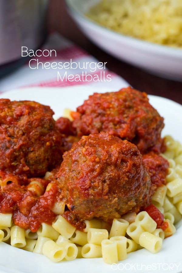 Slow Cooker Bacon Cheeseburger Meatballs from Cook the Story featured on SlowCookerFromScratch.com