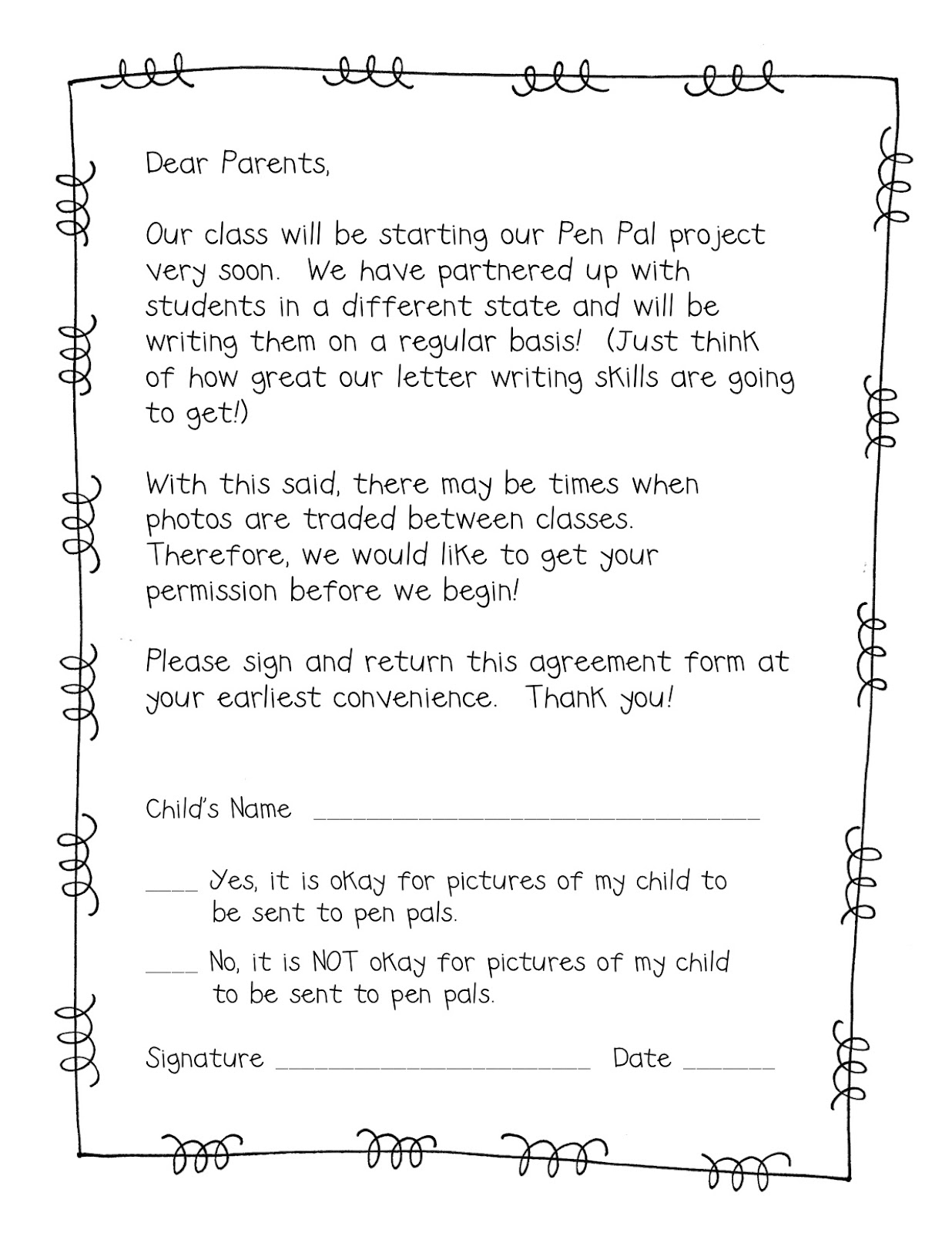 supplies  supplies letter to parents