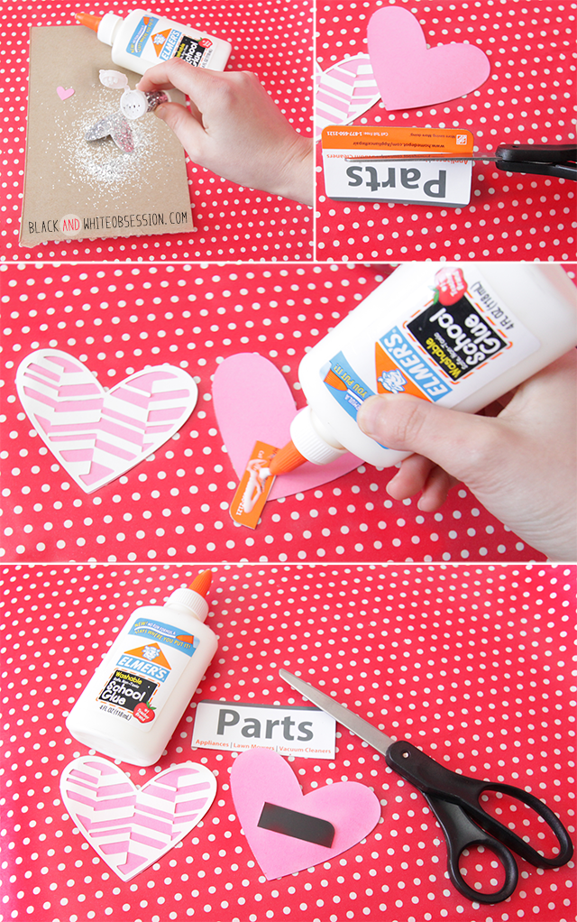 DIY Valentine's Day Heart Magnets and Free Cut File Glitter, Cut, Glue | www.blackandwhiteobsession.com