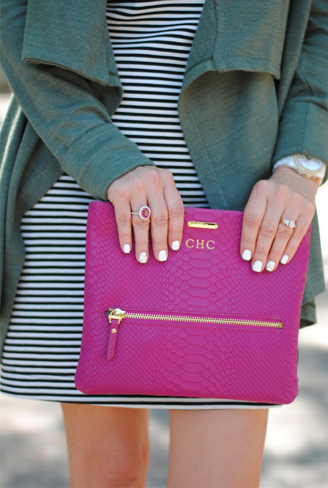Love this GiGi New York magenta clutch