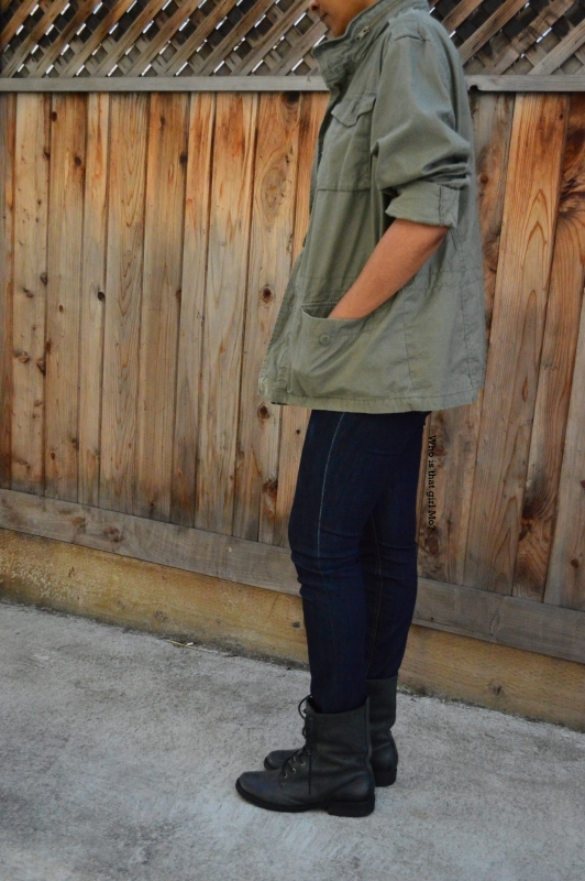 military jacket skinny jeans combat boots {who is that girl mo?}