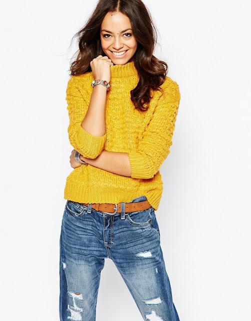 yellow bobble jumper, mustard knit jumper,
