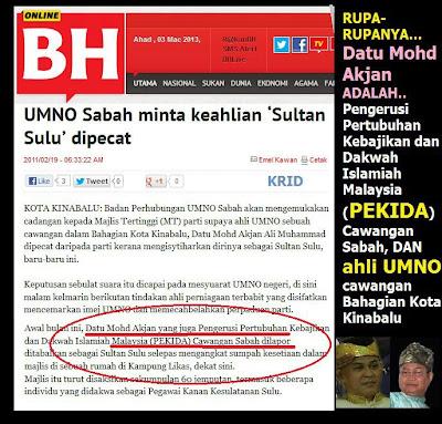 Sultan Sulu itu adalah Datu Mohd Akjan Ali Muhammad dan merupakan ahli Umno sebuah cawangan dalam Bahagian Kota Kinabalu.