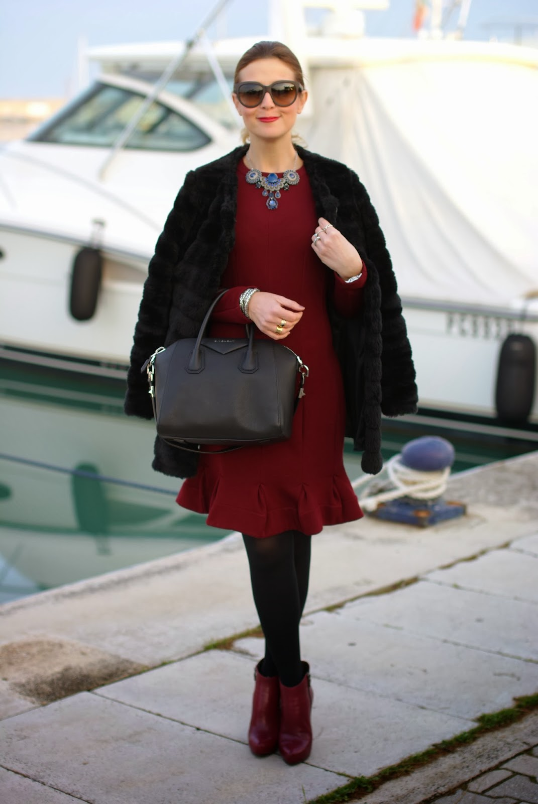 black faux fur, Carven burgundy dress, Givenchy Antigona bag, Fashion and Cookies, fashion blogger