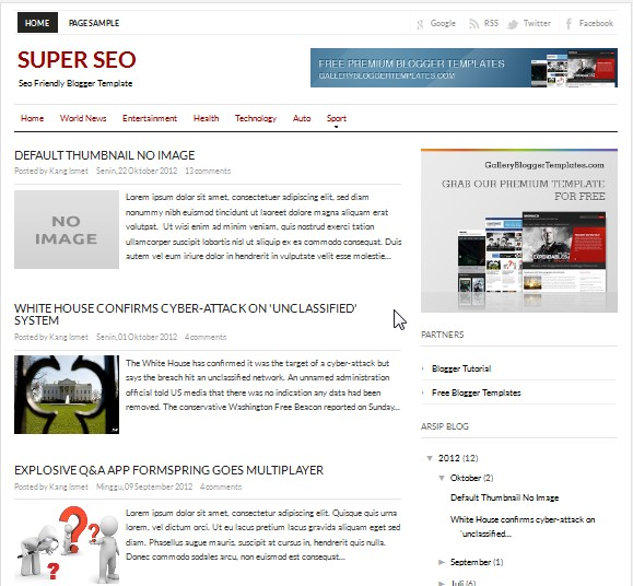 Super SEO Blogger Template Collections