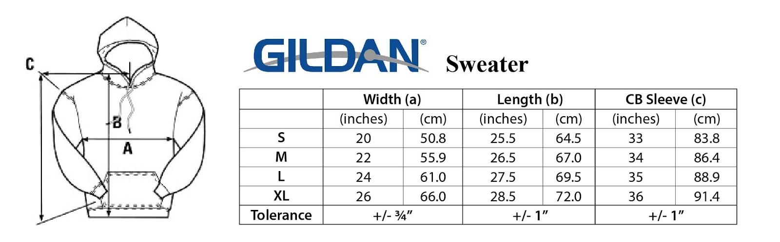 Pin Gildan Size Chart On Pinterest
