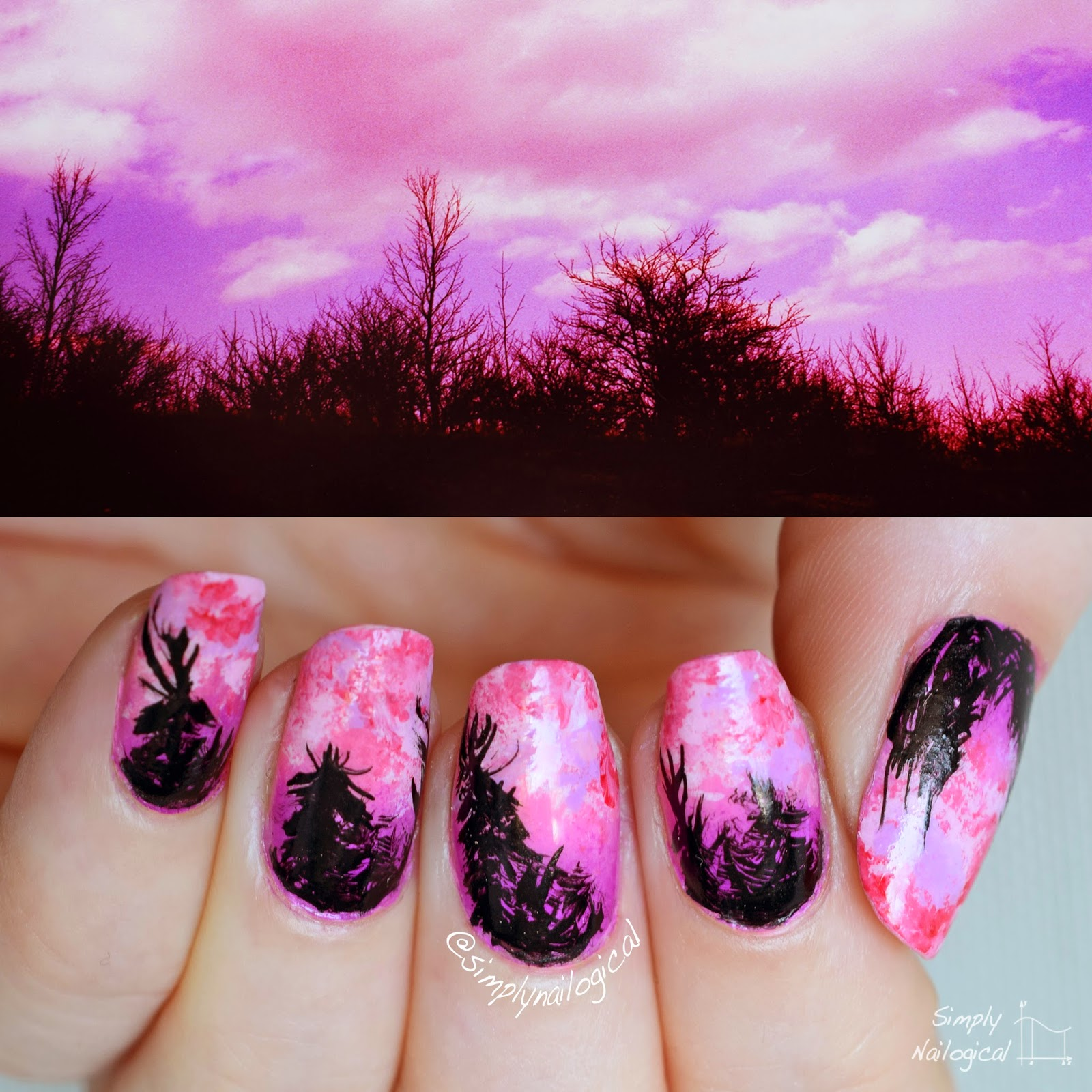 Simply Nailogical Nail Art: Simply Nailogical: Forest Silhouette Over Pink And Purple