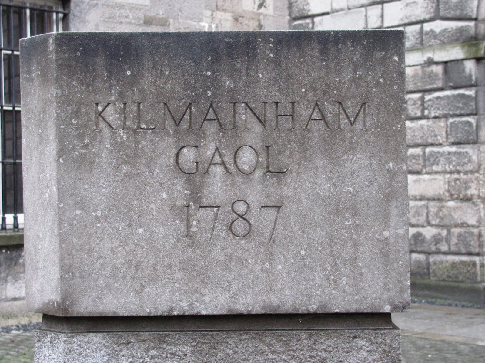 A stone sign reads:  Kilmainham Gaol 1787