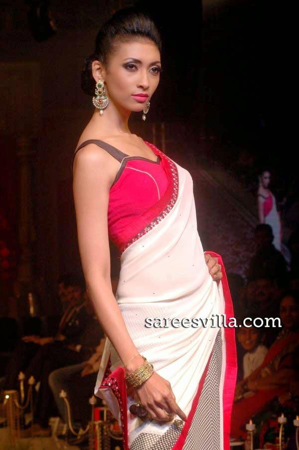 Stylish Designer Half and Half Saree
