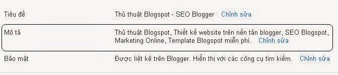 Làm sau để bật mô tả cho Blogspot