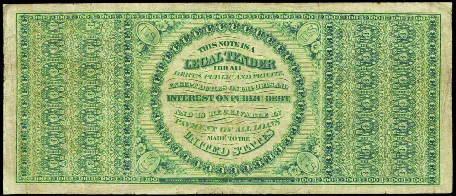 US paper money 1863 100 Dollars Legal Tender Note