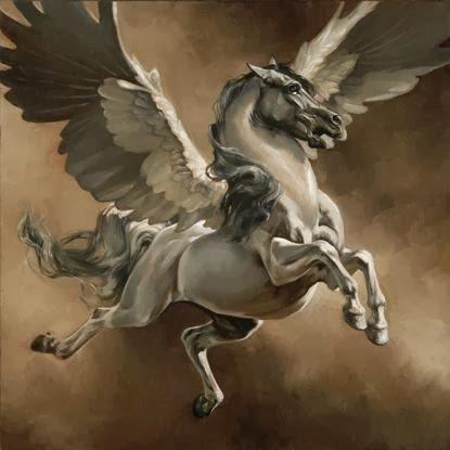 Greek Dark And White Horse Painting