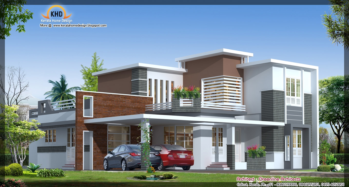 Contemporary Elevation Single Floor : Contemporary house elevation sq ft kerala home
