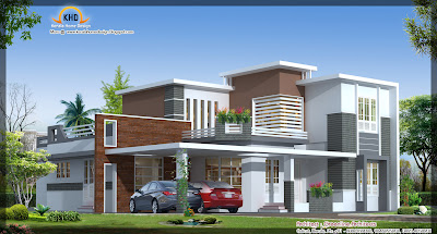 Contemporary House Elevation   2942 Sq  Ft    Kerala home design