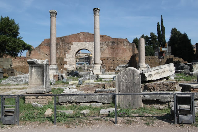 The remaining of the bases and commenmorative triumphal columns at Roman Forum (Forum Romanum) in Rome, Italy