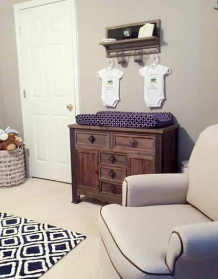 Twin Boy Nursery - white, gray, navy - with rustic elements. Antlers & Arrows