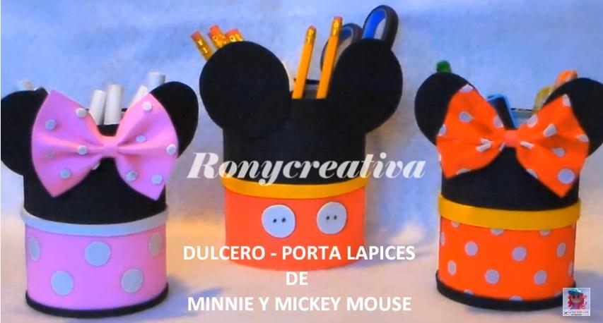ronycreativa: Cómo hacer dulceros - porta lapiz de MINNIE Y MICKEY ...