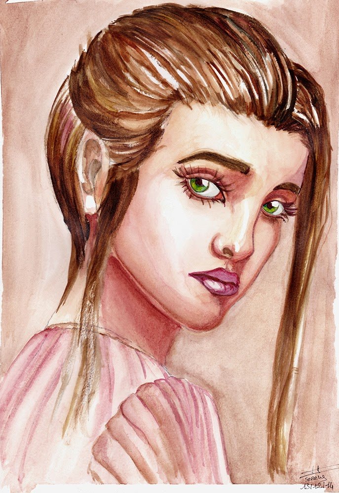 portrait of a cute young girl watercolours art painting