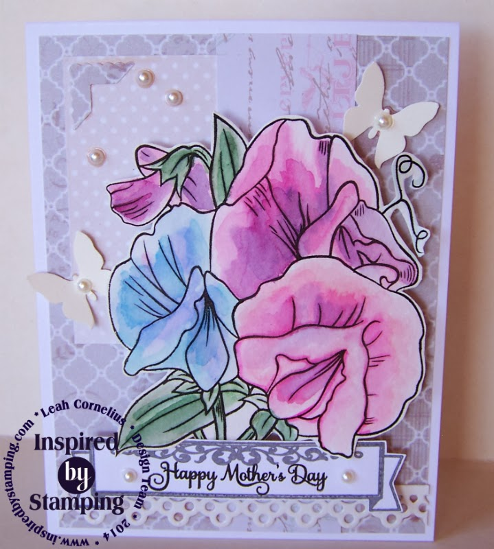 Inspired by Stamping. Leah Cornelius, Mother's Day Card, Sweet Pea Stamp Set, Mother's Day Bouquet Stamp Set, Tags, Fabric Bag