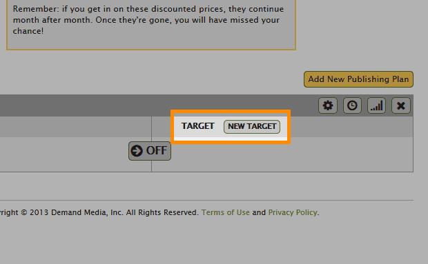 「TARGET」-「NEW TARGET」をクリック