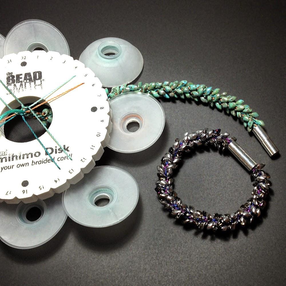 Kumihimo Bracelet with Long Magatamas & C-Lon Tex 400 Bead Cord