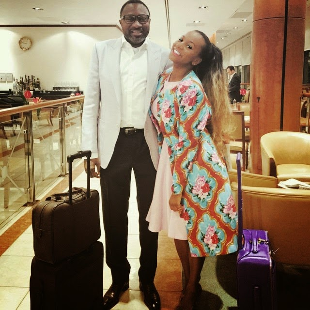 Check Out Billionaire Femi Otedola and His Daughter DJ Cuppy in London Airport
