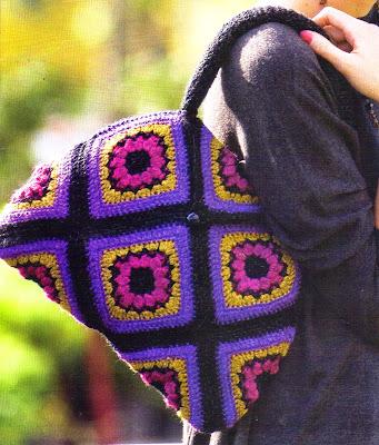 Cartera forrada y tejida en crochet