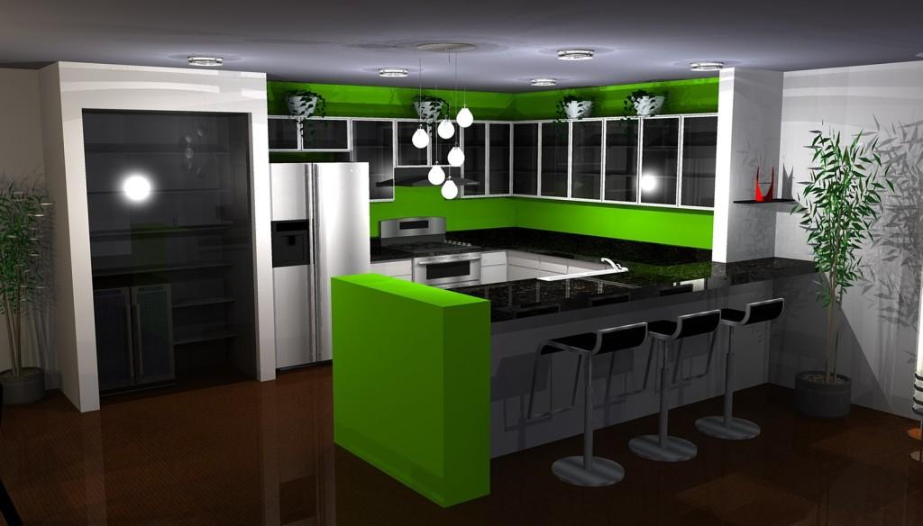 desain dapur idaman warna hijau gambar rumah idaman