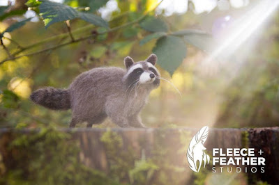 Fleece + Feather Studios - needlefelted raccoon