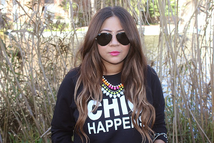 ombre hair, zara chain bag, mr price, ray ban aviators, mac impassioned lipstick, boyfriend jeans, sweatshirt