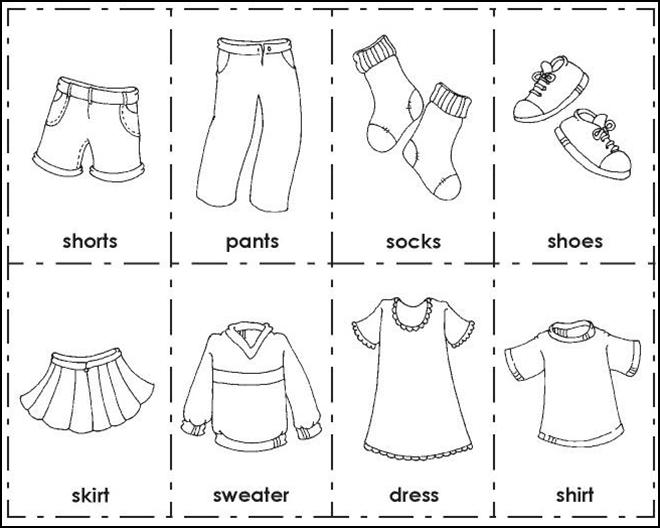 Examen TIC II - UNIR: Dibujos de ropa para colorear