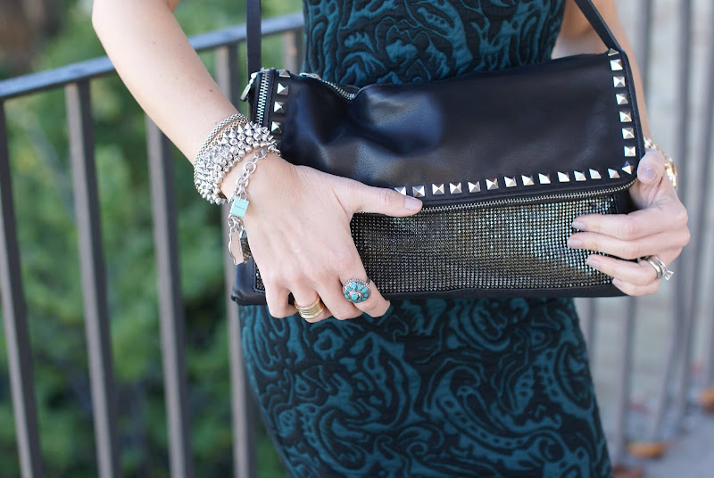 Zara studded clutch, Tiffany bracelets, Chanel Frenzy nail polish