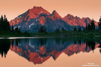 Mount Steel reflected in Lake La Crosse at sunset, Olympic National Park, Washington.