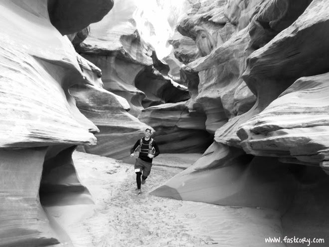 Waterholes Canyon, slot canyon, running