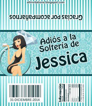 Etiqueta para chocolate de despedida de soltera como tema una novia brindando sentada en un anillo
