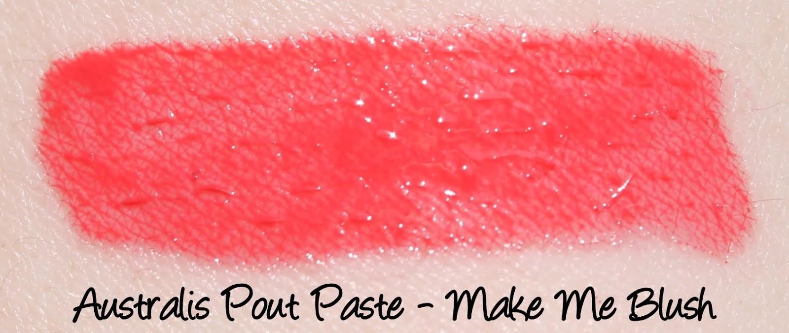 Australis Pout Paste - Make Me Blush Swatches & Review