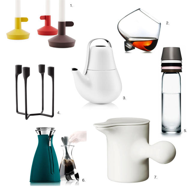 Christmas gift ideas under $100, Eva Solo Coffee Maker, Normann Copenhagen Cognac Glass, Eva Solo Tea Maker, Normann Copenhagen Iron Candlestick holder, Eva Solo My Teapot, Normann Copenhagen Carafe, Normann Copenhagen Porcelain Jug, Normann Copenhagen Flag Candle Holders